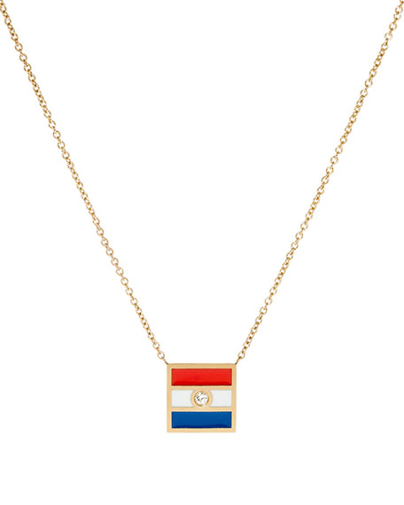 Code Flag Square Diamond Pendant Necklace - T