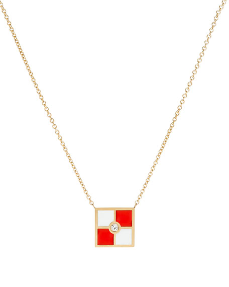 Code Flag Square Diamond Pendant Necklace - U