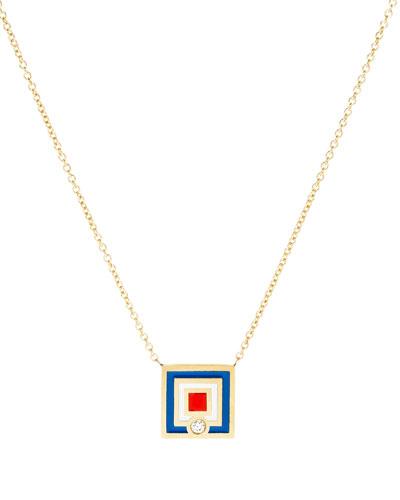 Code Flag Square Diamond Pendant Necklace - W
