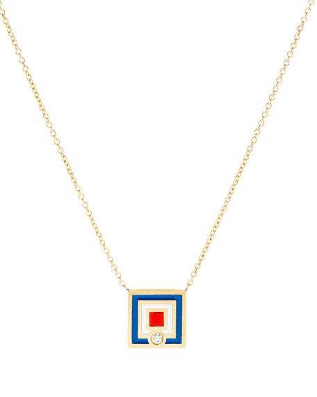 K Kane Code Flag Square Diamond Pendant Necklace
