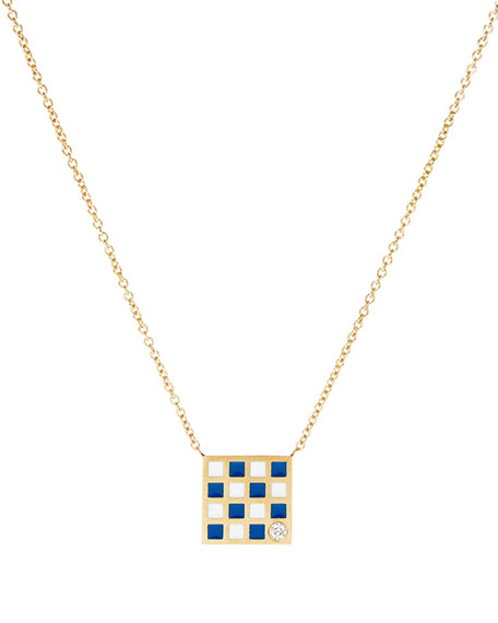 Code Flag Square Diamond Pendant Necklace - N
