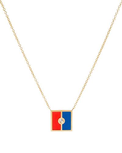 Code Flag Square Diamond Pendant Necklace - E