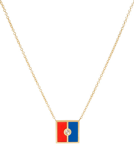 Code Flag Square Diamond Pendant Necklace - E