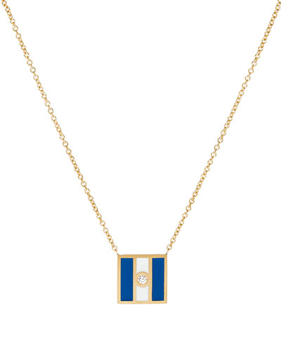 Code Flag Square Diamond Pendant Necklace - J