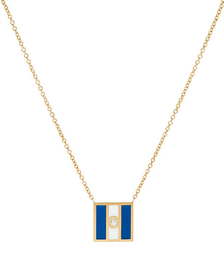 Code Flag Square Diamond Pendant Necklace - J