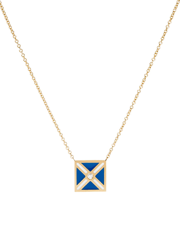 K Kane Code Flag Square Diamond Pendant Necklace - Z bZOB6K