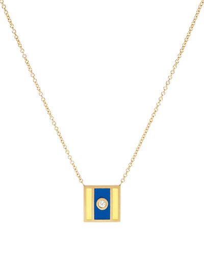 Code Flag Square Diamond Pendant Necklace - D