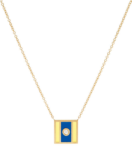Code Flag Square Diamond Pendant Necklace - D