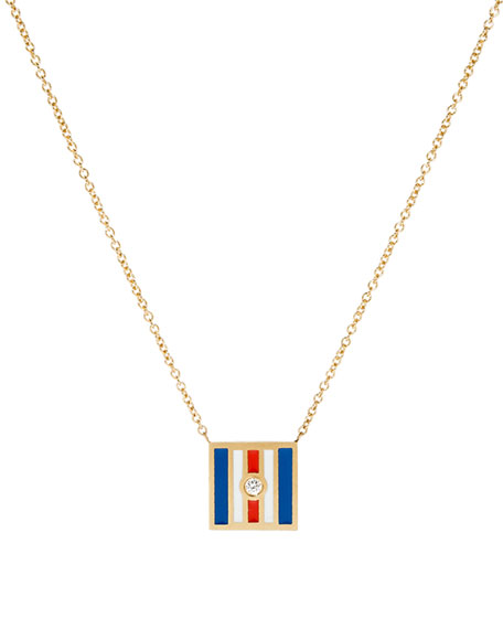 Code Flag Square Diamond Pendant Necklace - C