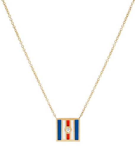 Code Flag Square Diamond Pendant Necklace - C