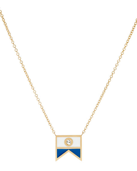 Code Flag Diamond Pendant Necklace - A