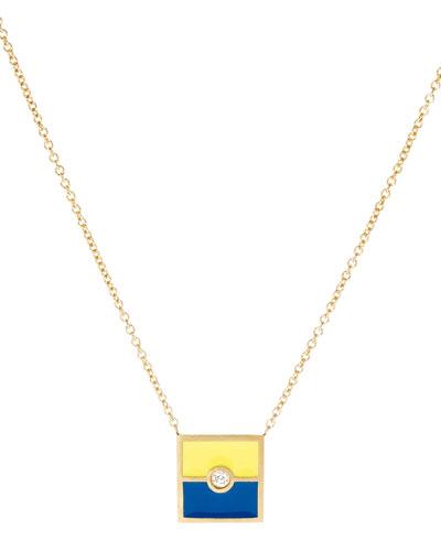 Code Flag Square Diamond Pendant Necklace - K