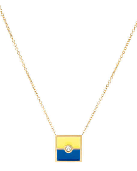 Code Flag Square Diamond Pendant Necklace - K