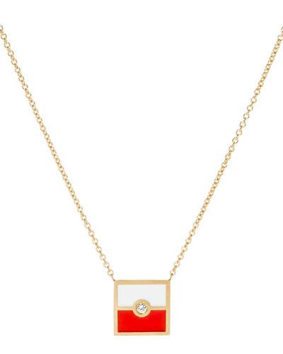 Code Flag Square Diamond Pendant Necklace - H