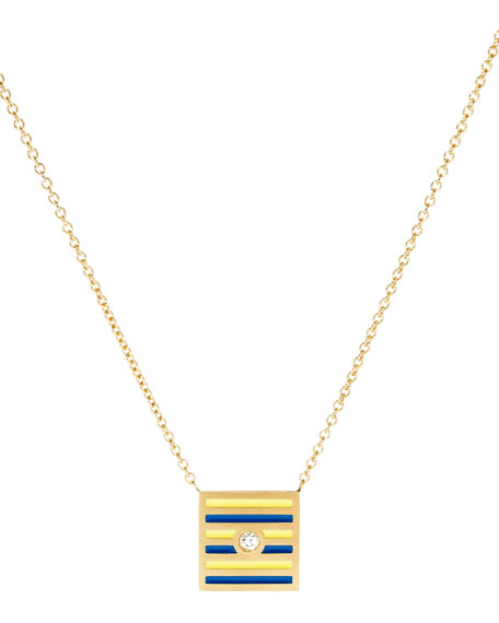 Code Flag Square Diamond Pendant Necklace - G