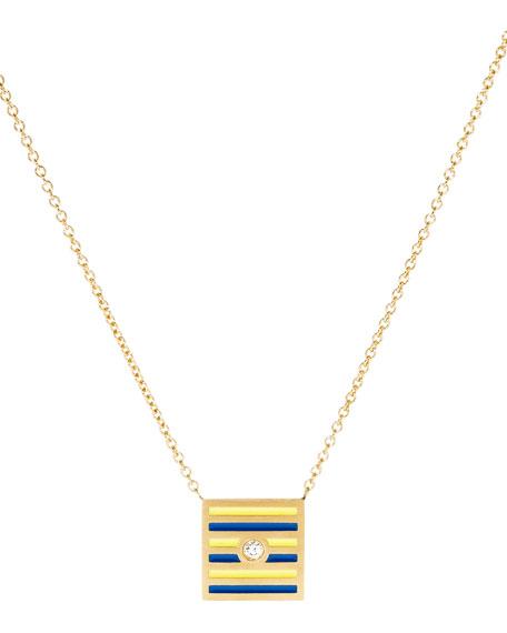 Code Flag Square Diamond Pendant Necklace - G