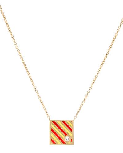 Code Flag Square Diamond Pendant Necklace - Y