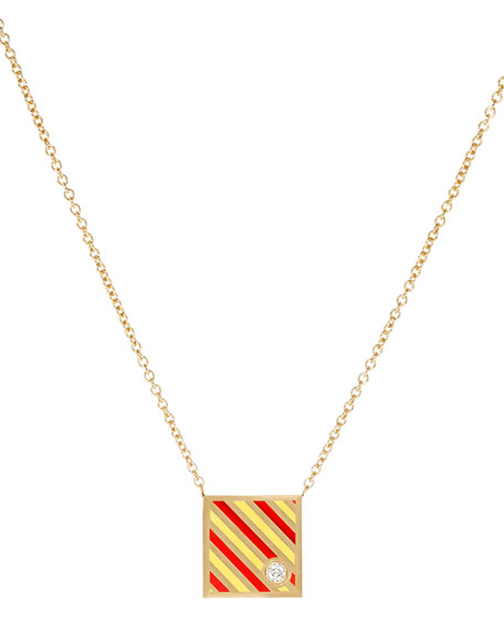 Code Flag Square Diamond Pendant Necklace - Y