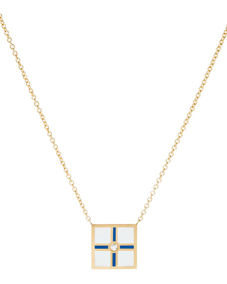 K Kane Code Flag Square Diamond Pendant Necklace
