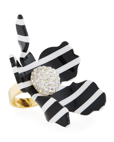 Striped Crystal Lily Statement Ring