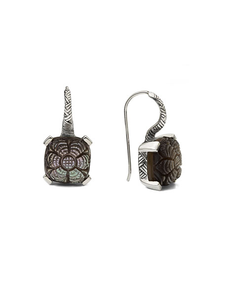 STEPHEN DWECK CARVED CHAMPAGNE MOTHER-OF-PEARL DROP EARRINGS