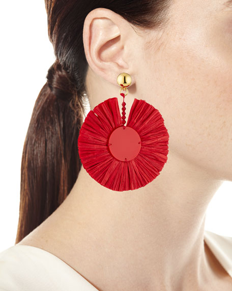 Small Raffia Fringe Clip-On Earrings in Scarlet