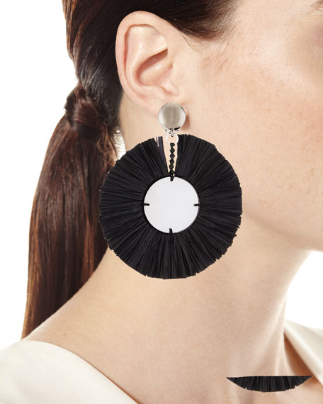 Large Raffia Fringe Clip-On Earrings in Black
