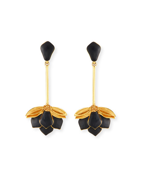 Painted Wild Lotus Clip-On Drop Earrings