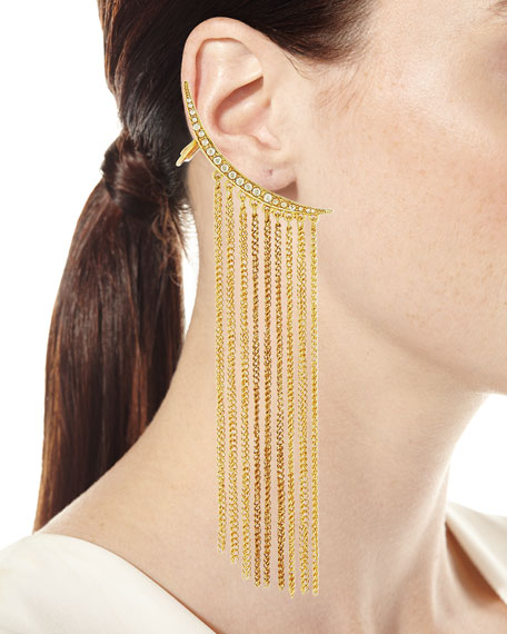 Chain Tendril Drop Climber Earrings