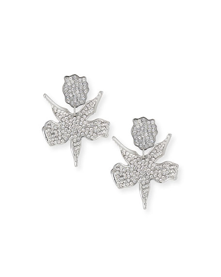 Lele Sadoughi Crystal Lily Statement Earrings