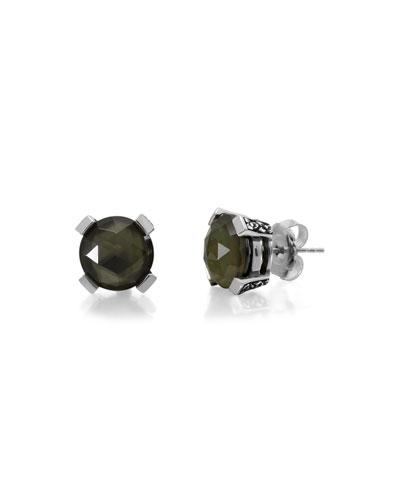 Hematite, Lemon Quartz & Mother-of-Pearl Doublet Stud Earrings