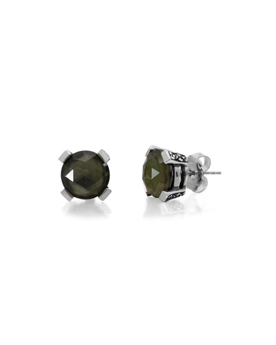 Smoky Quartz & Mother-of-Pearl Doublet Stud Earrings