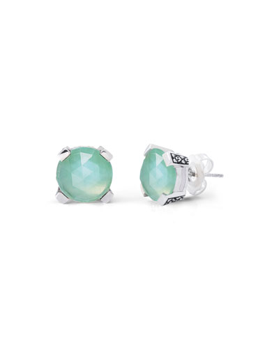 Crystal Green Quartz Stud Earrings