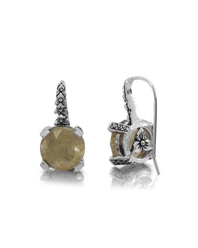 Rutilated Quartz Floral Drop Earrings
