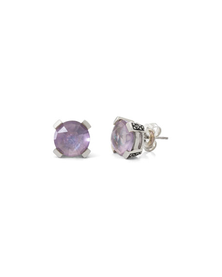 Stephen Dweck Amethyst Floral Stud Earrings