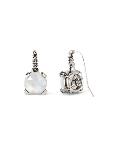 Gray Crystal Quartz Floral Drop Earrings