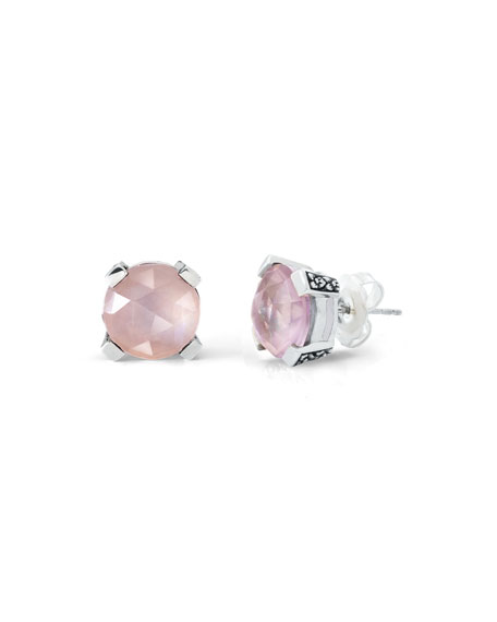 12mm Rose Quartz Triplet Earrings