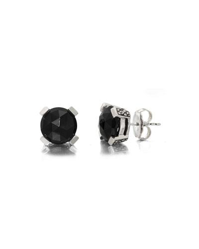 Black Agate Floral Stud Earrings