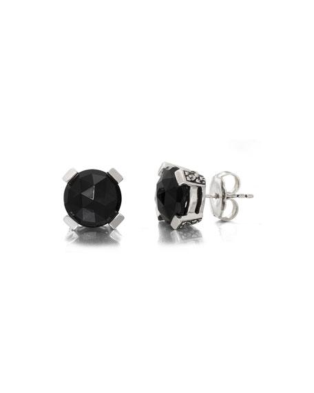 Stephen Dweck Black Agate Floral Stud Earrings