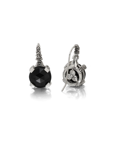 Black Agate Floral Drop Earrings