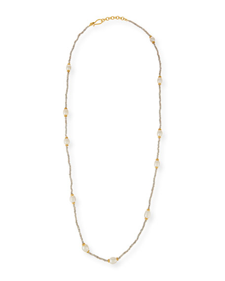 Dina Mackney Beaded Labradorite & Pearl Necklace, 36