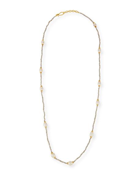 "Beaded Labradorite & Pearl Necklace, 36"""