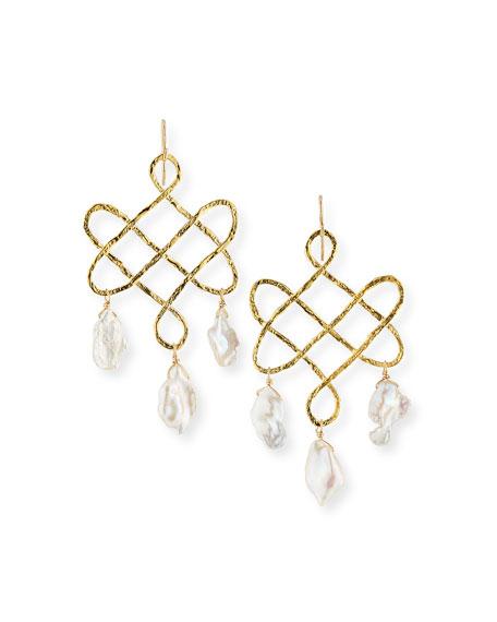 Devon Leigh Baroque Pearl Trellis Drop Earrings