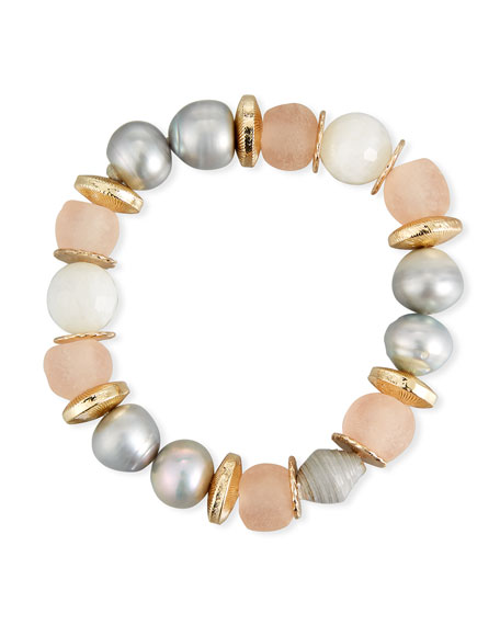 Akola Moonstone & Pink Glass Beaded Bracelet
