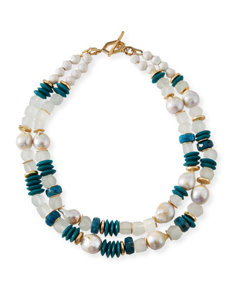 Akola Turquoise & Pearly Bead Necklace, 40