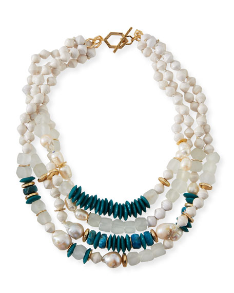 """AKOLA FOUR-STRAND PEARLY BEAD NECKLACE, 20""""L"""