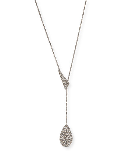 Pavé Teardrop Lariat Pendant Necklace