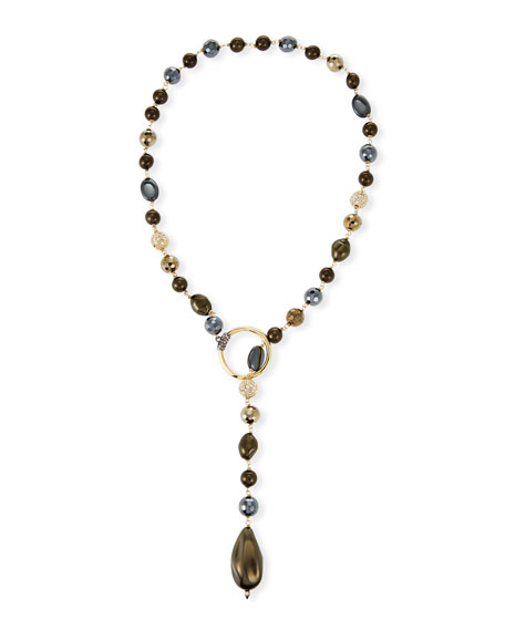 Baroque Pearly Beaded Lariat Necklace