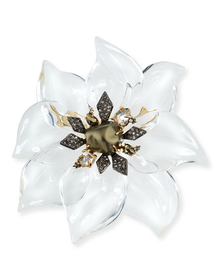 Alexis Bittar Lucite Floral Brooch with Crystals