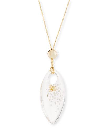 Large Lucite Marquis Pendant Necklace